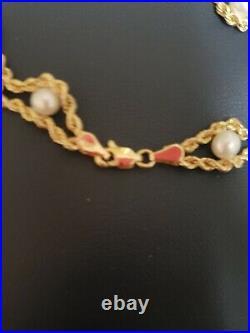 10k Gold Double Rope Pearl Bracelet