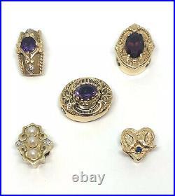 10k Yellow Gold Slide Bracelet Charm Pearls & Diamonds MGRB