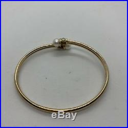 10k yellow gold pearl diamond bangle bracelet bypass cuff flexible estate easy