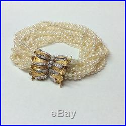 11 Strand Pearls 14k Yellow And White Gold And Diamonds Bracelet