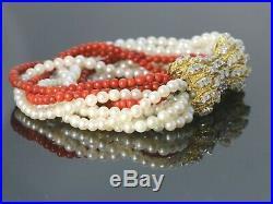 $12,000 Vintage 18k Yellow Gold Coral Pearl Round Diamond Ribbon Clasp Bracelet