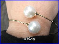 14KT Yellow Gold Open Cuff withPaspaley South Sea Pearl Bracelet Bypass Design 8