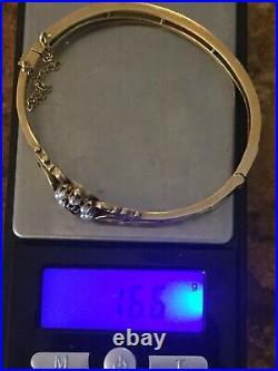 14K Gold Antique Bracelet Victorian Sapphire Pearl 16.6 G