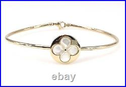 14K Gold & Mother of Pearl 4 Leaf Clover Open Bangle Bracelet, New, Fits 7