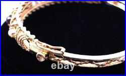 14K Solid Gold Hinged Bangle Bracelet Set with 3 Cabochon Garnets and 3 Pearls