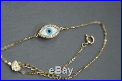 14K Solid Yellow Gold Mother Of Pearl Evil Eye With CZ Fancy Bracelet