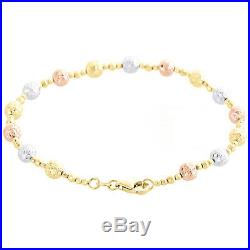 14K Tri Color Gold Texture Moon Cut / Candy Bead 5mm Fancy Italian Bracelet 7