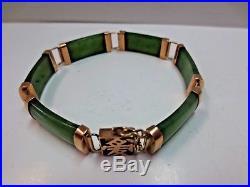 14K Vintage Jade Bangle Bracelet with 14K Clasp 7