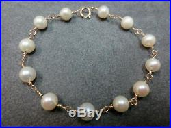 14K Vintage Lustrous cultured Pearl Beads Bracelet with 14K Chain Clasp 7