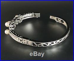 14K White Gold Diamond Scroll White Pearl Romantic Design Hinged Bangle Bracelet