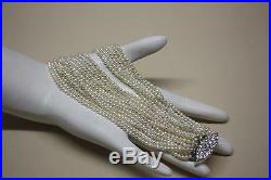 14K White Gold Fancy Pave Diamond Clasp Multi-Strand Akoya Keshi pearls Bracelet