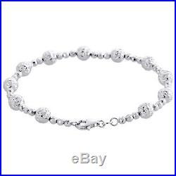 14K White Gold Texture Moon Cut / Candy Bead Link 6mm Womens Fancy Bracelet 7.5