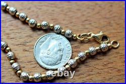 14K YELLOWithWHITE GOLD BEAD ON CHAIN BRACELET 7.75, 6.7 GRAMS