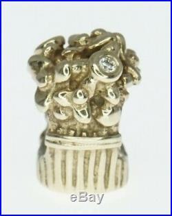 14K Yellow Gold ALE Pandora Charm Bracelet Bead Flower Basket Love Bouquet