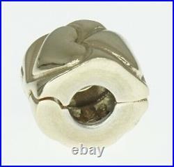 14K Yellow Gold ALE Pandora Charm Bracelet Bead Heart Clip