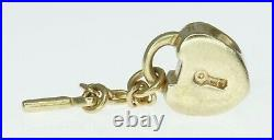 14K Yellow Gold ALE Pandora Charm Bracelet Bead Key To My Heart Lock