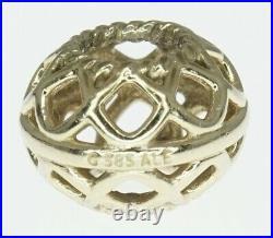 14K Yellow Gold ALE Pandora Charm Bracelet Bead Open Lattice Retired