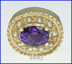 14K Yellow Gold GK Goldman Kolber Slide Bracelet Charm Oval Amethyst Pearl Halo
