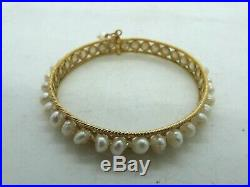 14K Yellow Gold & Pearl Cuff Bracelet 25.37 Grams 7 Inner Circumference