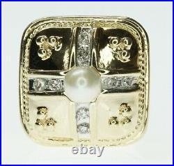 14K Yellow Gold Slide Bracelet Charm Slider Refurbished Square Diamond & Pearl