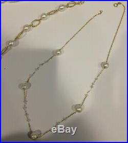 14K Yellow Gold Station Pearl Necklace and Bracelet Lot Italy