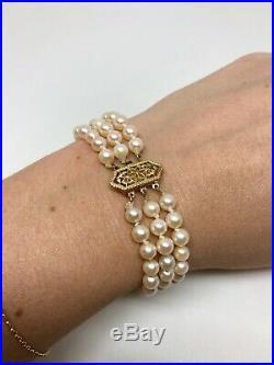 14K Yellow Gold Vintage Japanese Akoya Cultured Pearl Triple Bracelet Filigree
