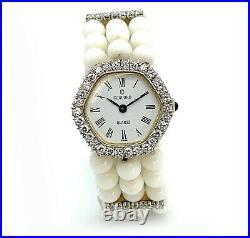 14K Yellow Gold, White Coral Bead Bracelet, & Diamond Bezel Concord Watch