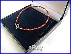 14 k gold beads bead yellow coral red gemstone natural bracelet genuine small