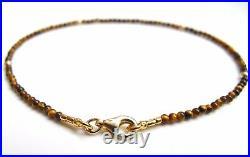 14 k solid gold small beads tiger eye gemstone bead bracelet genuine gem bangle