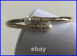14k Gold Diamond Pearl Bypass Bracelet