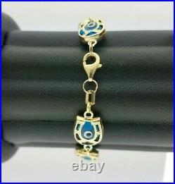 14k Gold Evil Eye Bracelet Horseshoe Charm Greek Bead Link Chain 7 inches 8 mm