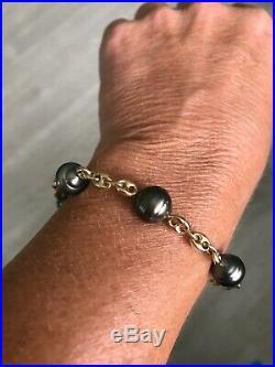 14k Gold Hawaiian Tahitian Pearl Gucci Link Bracelet