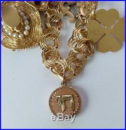 14k Gold Ladies Vintage Charm Bracelet With 28 Pearls Approx 51.25 grams