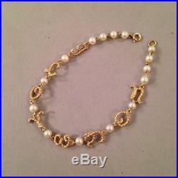 14k Gold & Pearl Bracelet I Love You 6.5