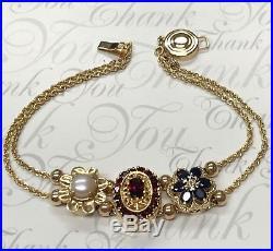 14k Slide Bracelet Video Below Garnet, Sapphire, Pearl Kljci