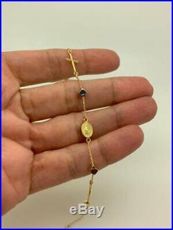 14k Solid Gold Cross Bracelet Rosary Bead Bracelet
