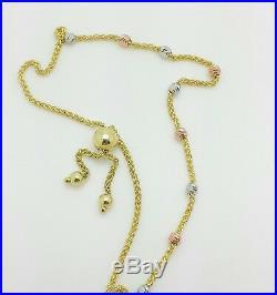 14k Solid Gold Tri Color Diamond Cut Round Bead Adjustable Wheat Bracelet