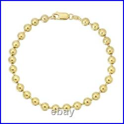 14k Solid Yellow Gold Round All Shiny Plain Bead Ball Chain Bracelet