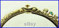 14k Solid Yellow Gold Vintage Antique Pearl & Turquoise Cabochon Bangle Bracelet