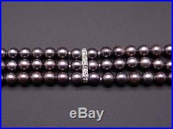 14k White Gold Triple Strand Black Pearl Diamond Bracelet 7.25 inch
