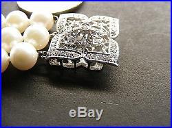 14k White Gold Triple Strand Pearl Flower Bracelet Diamond Filigree Floral Clasp