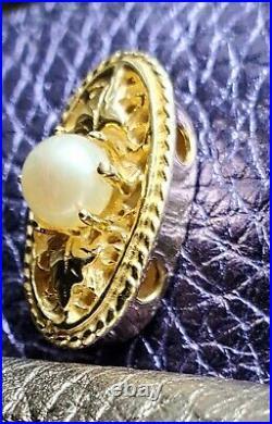 14k YELLOW GOLD SLIDE BRACELET CHARM-KLEIN PEARL LARGE SLIDE CHARM
