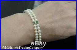 14k Yellow Gold 5mm White Pearl Double Strand Emerald Diamond String Bracelet
