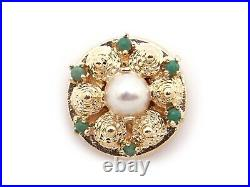 14k Yellow Gold 6.5mm Round White Pearl Turquoise Flower Slide Bracelet Charm
