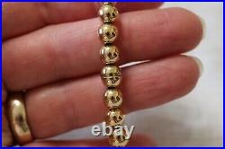 14k Yellow Gold Bead Bracelet Eterna Gold Magnetic Clasp 6.4 grams