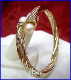 14k Yellow Gold Cuff Bangle Twisted Bypass Bracelet Pearls & 0.5ctw Diamonds