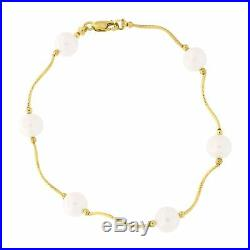 14k Yellow Gold Diamond Cut Freshwater Cultured Pearl Station Bracelet, 7 inches
