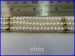 14k Yellow Gold Filigree Clasp Pearl Triple Strand Bracelet 14k Space Bar 7 5/8