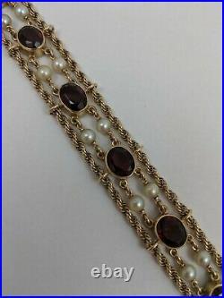 14k Yellow Gold Garnet Pearl Rope Bracelet