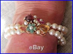 14k Yellow Gold Multi Gem Tutti Frutti Clasp Double Strand Akoya Pearl Bracelet